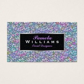 Colorful Glitter & Sparkles Silver Accents 2 Business Card