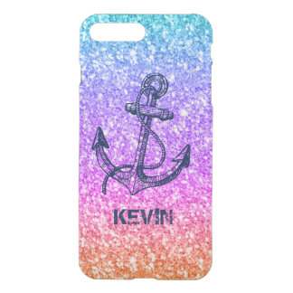Colorful Glitter Texture Nautical Anchor iPhone 8 Plus/7 Plus Case