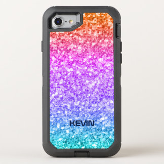 Colorful Glitter Texture Print Pattern OtterBox Defender iPhone 7 Case
