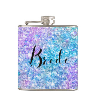Colorful Glitter With Black Typography Bride Hip Flask