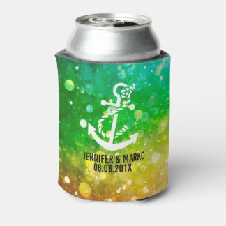 Colorful Glitter With Nautical Boat Anchor Can Cooler