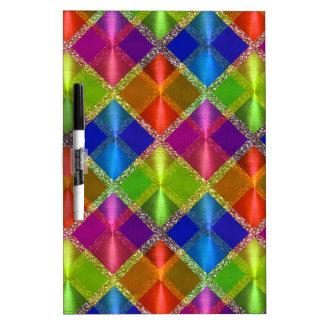 Colorful Glittery Plaid Erase Board Dry Erase White Board