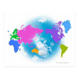 Colorful Global Map Postcard