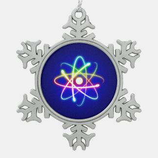 Colorful Glow Atom Nerd Snowflake Pewter Christmas Ornament