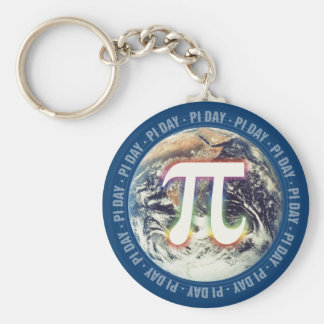 Colorful Glow Pi Day on Earth | Math Key Ring