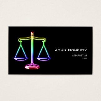 Colorful Glow Scales of Justice Business Card