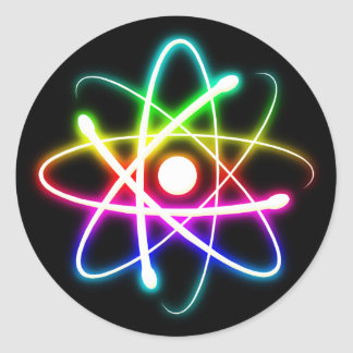 Colorful Glowing Atom | Geek Gifts Round Sticker