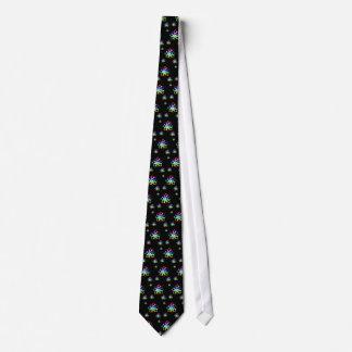 Colorful Glowing Atoms Pattern | Black Nerd Tie