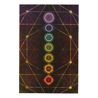 Colorful Glowing  Chakras Wood Wall Art