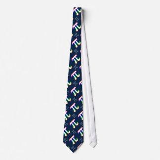 Colorful Glowing Pi Pattern | Dark Blue Geek Tie