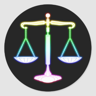 Colorful Glowing Scales of Justice | Law Gifts Round Sticker