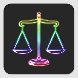 Colorful Glowing Scales of Justice   Law Square Sticker