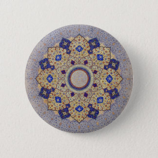 Colorful Gold and Blue Indian Shamsa 6 Cm Round Badge