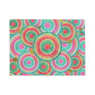 Colorful  Gold and Stained glass Tribal Boho Doormat