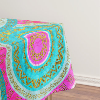 Colorful  Gold and Stained glass Tribal Boho Tablecloth