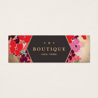 Colorful Gold Floral Boutique Chic and Elegant Mini Business Card
