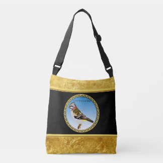 Colorful gold foil design yellow and brown sparrow crossbody bag