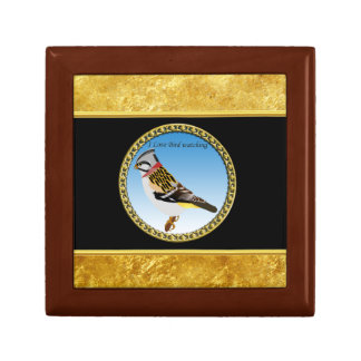 Colorful gold foil design yellow and brown sparrow gift box