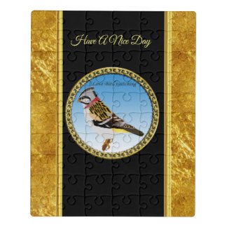 Colorful gold foil design yellow and brown sparrow jigsaw puzzle