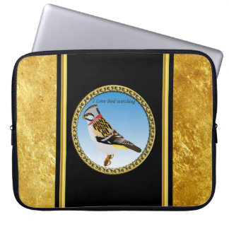 Colorful gold foil design yellow and brown sparrow laptop sleeve