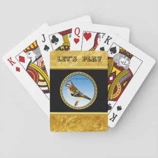 Colorful gold foil design yellow and brown sparrow playing cards