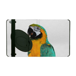 colorful gold teal macaw parrot bird portrait iPad cover