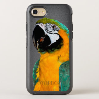 colorful gold teal macaw parrot bird portrait OtterBox symmetry iPhone 8/7 case