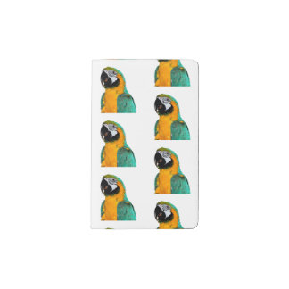 colorful gold teal macaw parrot bird portrait pocket moleskine notebook