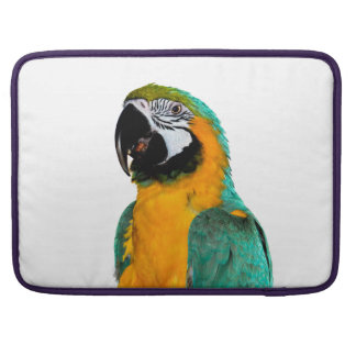colorful gold teal macaw parrot bird portrait sleeve for MacBook pro