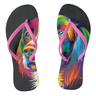 Colorful golden retriever thongs