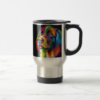 Colorful golden retriever travel mug
