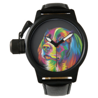 Colorful golden retriever watches