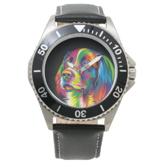 Colorful golden retriever wristwatch