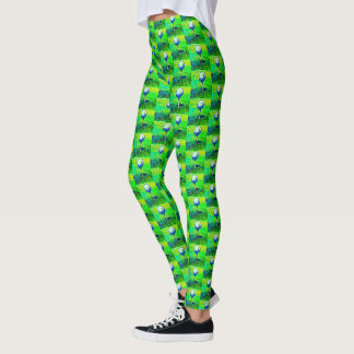 Colorful Golf Course Green Golfing Leggings