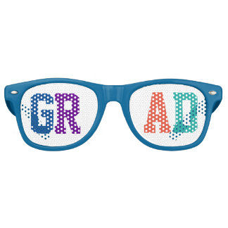 Colorful GrAd Individual Letters.Text Design Retro Sunglasses