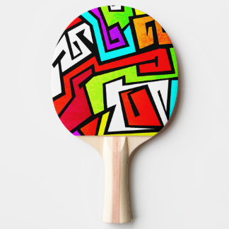 Colorful graffiti illustration ping pong paddle