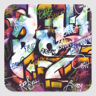 Colorful Graffiti Words Square Sticker