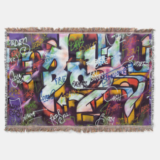 Colorful Graffiti Words Throw Blanket