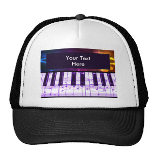Colorful Grand Piano Keyboard and Music Notes Cap