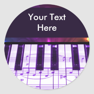 Colorful Grand Piano Keyboard and Music Notes Round Sticker