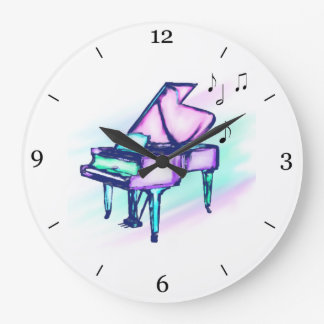 Colorful Grand Piano Watercolor & Music Notes Large Clock