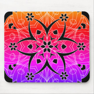 Colorful Graphic Flowers Circle 3 - Mouse Pad