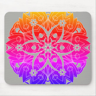 Colorful Graphic Flowers Circle - Mouse Pad
