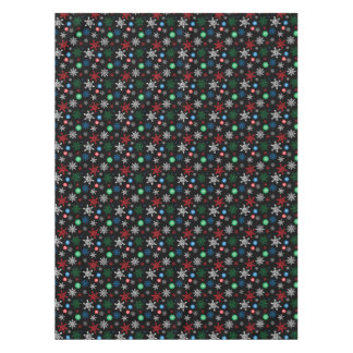 Colorful Graphic Snowflakes on Black Tablecloth