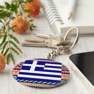 Colorful Greece Flag Box Basic Round Button Key Ring