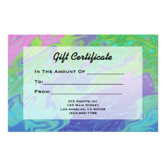 Colorful Green Blue Gift Certificate Stationery Design