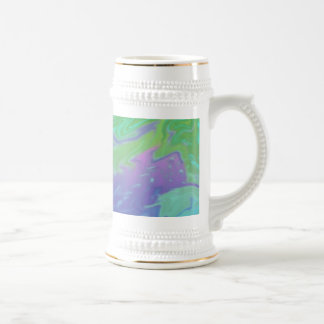 Colorful green blue splash abstract beer steins