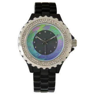 Colorful green blue splash abstract watch
