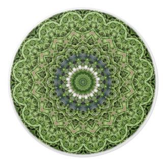 Colorful  Green Farmers Market Mandala Ceramic Knob