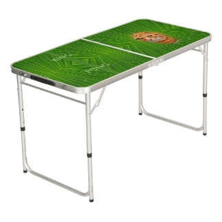 Colorful Green Geometric Pattern - Cat, Pong Table